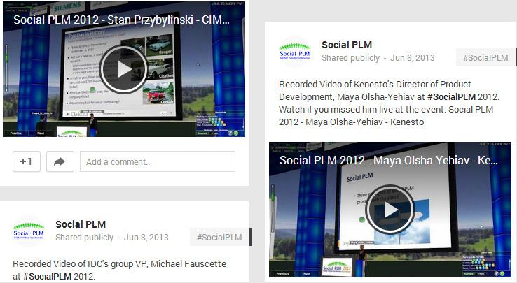 Some Social PLM 2012 videos