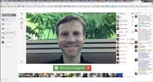 A screen capture from the Business Hangouts app